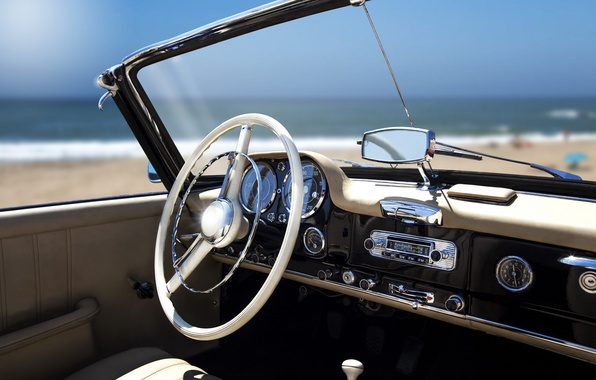 Picture beach, retro, the ocean, stay, panel, blur, devices, the wheel, relax, convertible, car, salon, bokeh, …
