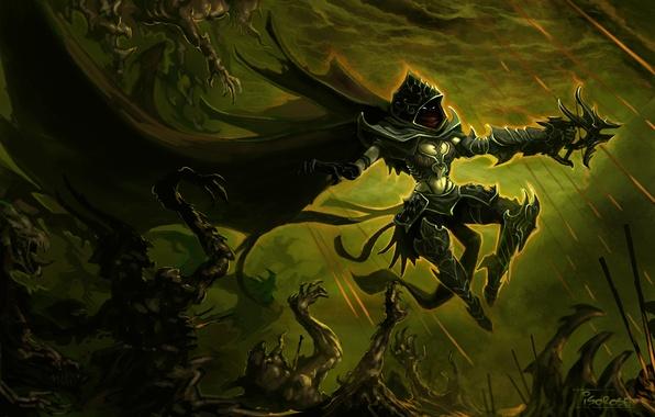Picture night, weapons, art, demon, armor, cloak, demons, hunter, diablo 3, crossbow, hunter, demons