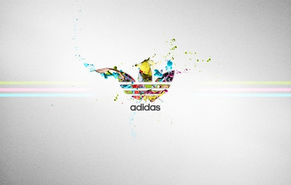 Picture color, strip, the inscription, sport, logo, grey background, adidas, firm