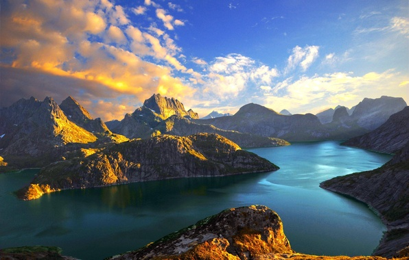 Picture sea, clouds, sunset, lake, Mountains, Norway, stein liland, fjords