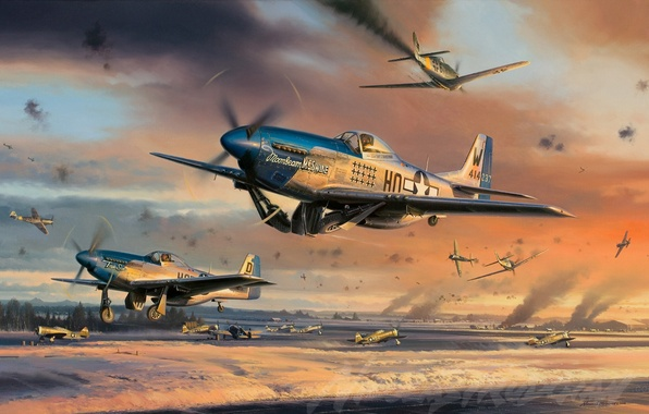 Picture the plane, Mustang, Fighter, Mustang, painting, WW2, P-51 Mustang, aircraft art