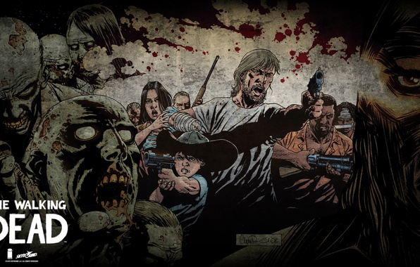 Picture zombies, comic, The walking Dead