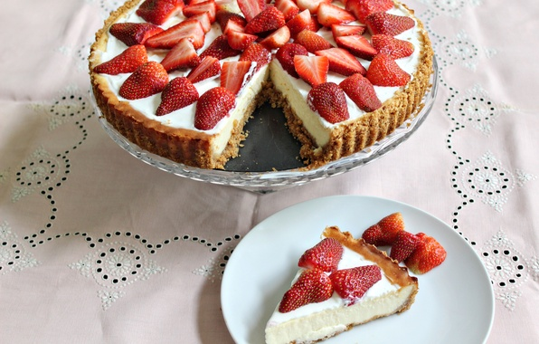 Picture berries, food, strawberry, cake, cake, cake, cream, dessert, food, sweet, dessert, berries, cheesecake, strawberries, cheesecake
