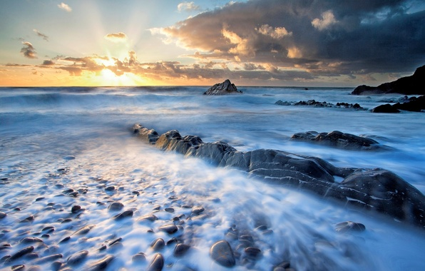 Picture sea, the sky, water, the sun, clouds, landscape, sunset, nature, river, sunrise, stones, background, widescreen, …