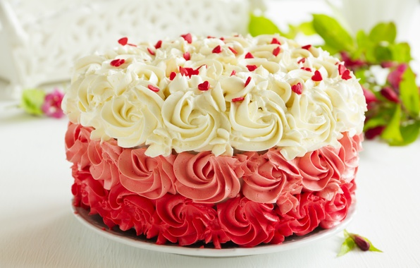 Picture the sweetness, cake, cream, leaves, cakes, sugar hearts