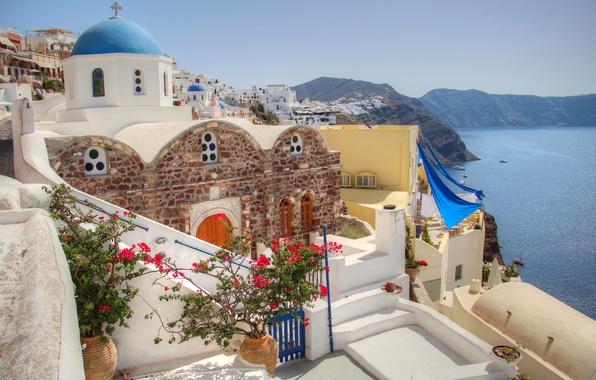 Picture sea, the sky, flowers, mountains, house, Santorini, Greece, yard, Church