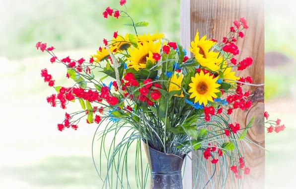 Picture flowers, bouquet, window, pitcher