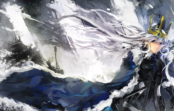 Picture girl, weapons, sword, crown, art, saberiii, Pixiv Fantasia: Sword Regalia