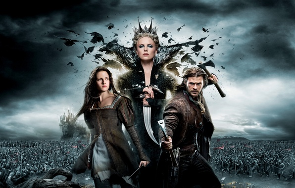 Picture battle, axe, Kristen Stewart, Charlize Theron, Snow White and the Huntsman, Snow white and the …