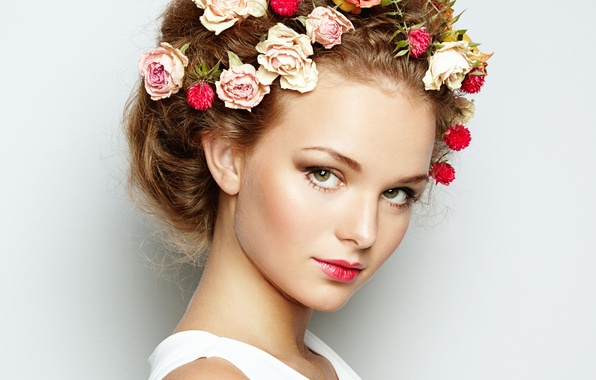 Picture girl, flowers, hair, spring, makeup, beautiful