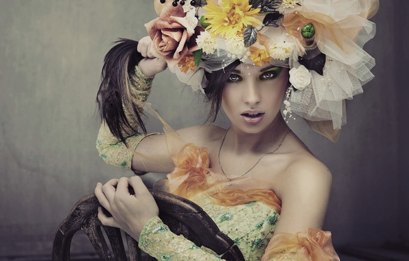Picture girl, flowers, hair, chair, lips, look. makeup