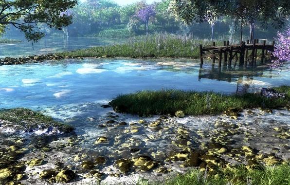Picture forest, grass, trees, nature, river, stones, pier, art, klontak