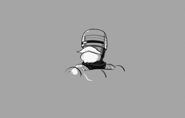Picture Minimalism, Robot, Humor, Grey Background, Art, Robocop