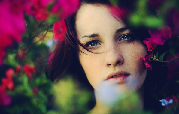 Picture greens, look, leaves, girl, flowers, face, background, Wallpaper, mood, foliage, plant, teeth, makeup, lips, wallpapers, …