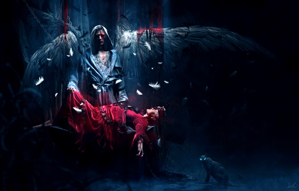 Picture GIRL, WINGS, BLOOD, DRESS, CAT, FEATHERS, ANGEL, The VICTIM, CHAIN, RED