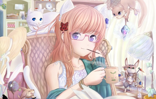 Picture cat, cat, anime, glasses, girl, book, hat, neko, Bunny, bow, ears, animals, squirrel