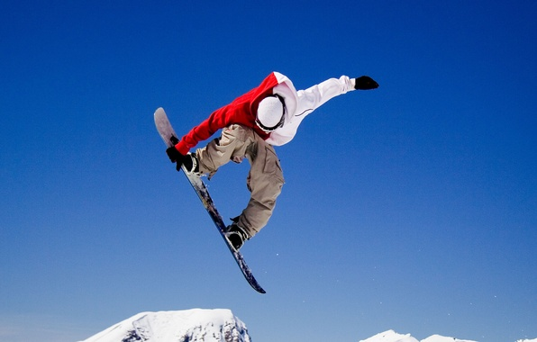 Picture winter, flight, jump, the trick, Snowboarder