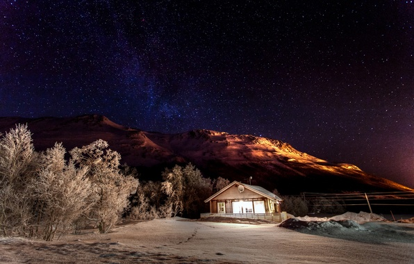 Picture winter, the sky, stars, light, snow, trees, mountains, night, nature, house, stars, house