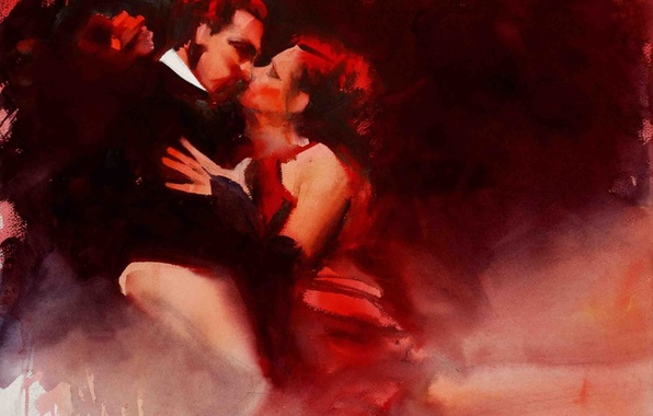 Picture passion, woman, dance, kiss, picture, art, watercolor, male, two, tango, Alvaro Castagnet