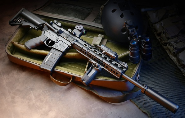 Picture machine, suitcase, helmet, muffler, hd wallpaper, assault rifle, device, night, collimator, PNV, Larue Tactical, vision