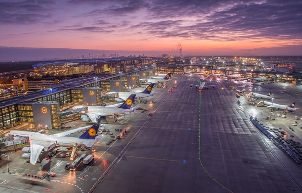 Picture Germany, Sunrise, Frankfurt Airport