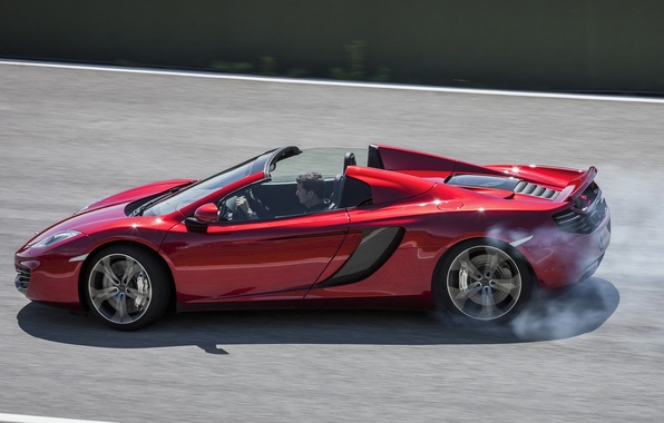 Picture auto, smoke, McLaren, Spyder, MP4-12C, spider