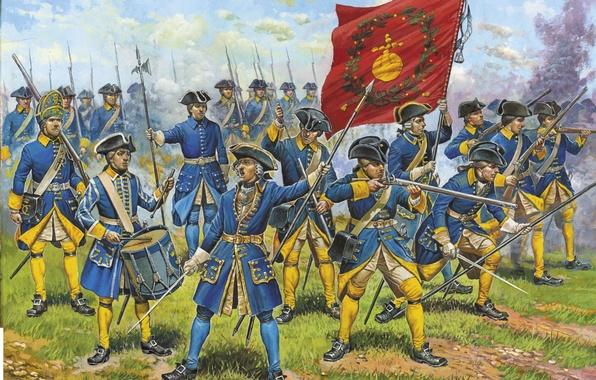 Picture grass, earth, war, figure, art, battle, guns, drummer, army, bayonets, banner, officer, infantry, swords, Poltava, …
