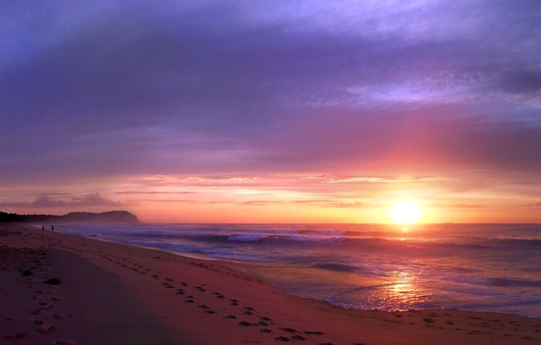Picture sand, beach, the sky, the sun, clouds, sunset, traces, people, the ocean, shore, coast, the …