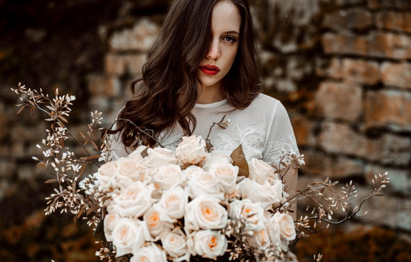 Picture flowers, face, background, hair, roses, bouquet, lipstick