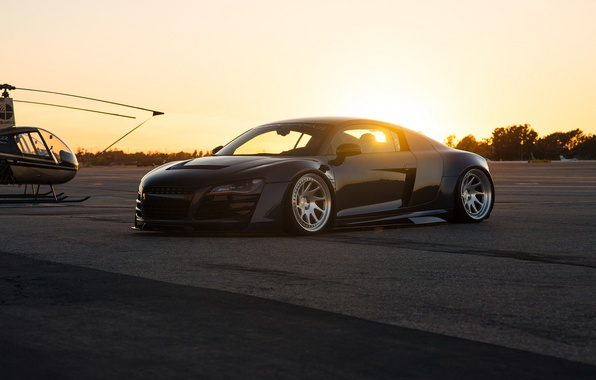Picture sunset, audi, car, Solnce