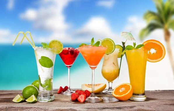 Picture summer, berries, orange, glasses, strawberry, umbrellas, lime, fruit, citrus, cocktails, tube, melon, Mojito, cocktails, Pina …