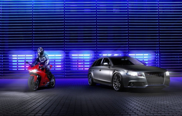 Picture Audi, red, Ducati, motorcyclist, front, silvery, Before, sport bike, Panigale