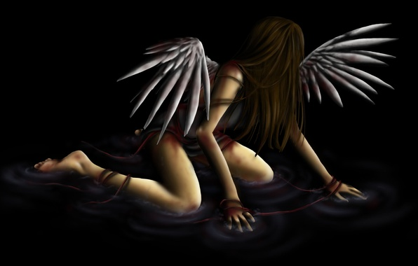 Picture water, girl, fiction, wings, angel, black background