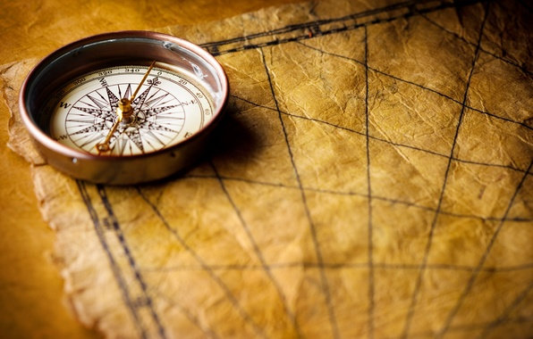 Picture Desk, map, compass, marine style