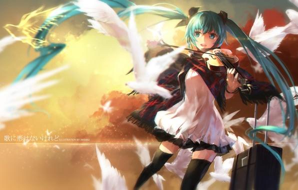 Picture the sky, girl, clouds, joy, birds, violin, anime, art, vocaloid, hatsune miku, swd3e2