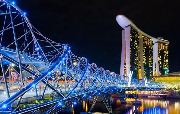 Picture night, the city, Singapore, the hotel, casino, Singapore, bridge.