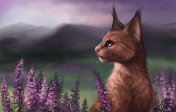 Picture flowers, mountains, art, novel, of priod, M-Y-S-T-l-C, Cats-Warriors, Vereschaka