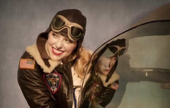 Picture girl, the plane, Bailey, L-17