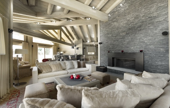 Picture design, photo, sofa, interior, pillow, the ceiling, wooden, fireplace