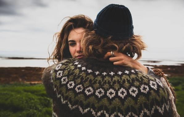Picture woman, hair, hugs, male