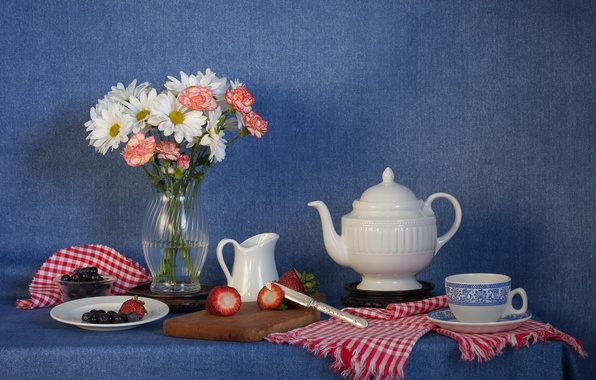 Photo wallpaper kettle, flowers, Cup, blueberries, bouquet, berries, still life, knife, strawberry, clove
