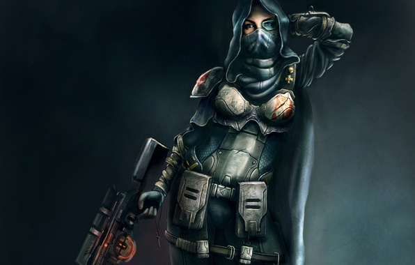 Picture girl, weapons, art, hood, armor, sniper, cloak, rifle, cross
