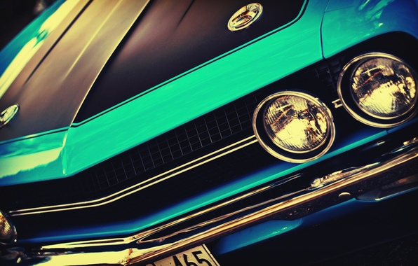 Picture machine, auto, lights, before, Challenger, car, vintage, blue, vintage, front, blue cars, outdoors, headlights, American …