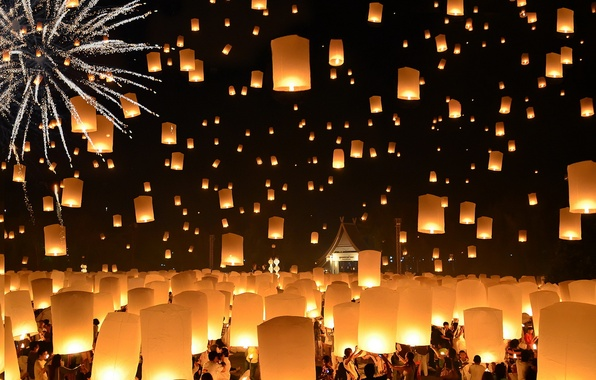 Picture Thailand, Loi Krathong Festival, Floating Lanterns