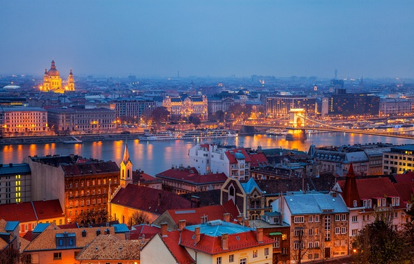 Picture the city, river, building, home, the evening, roof, panorama, Hungary, Budapest, Budapest, Chain bridge