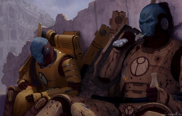 Picture the city, weapons, war, veteran, ruins, warhammer, warriors, rifle, fighters, Empire, break, 40k, tau, for …