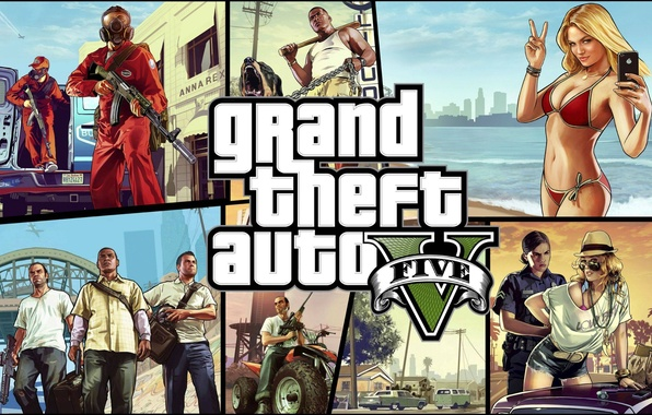 Picture sea, girl, weapons, art, GTA, Grand Theft Auto V, GTA 5, Rockstar North, Rockstar Games