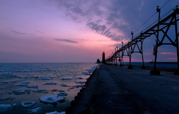 Picture sea, the sky, clouds, snow, sunset, clouds, shore, the evening, Lighthouse, pierce, ice
