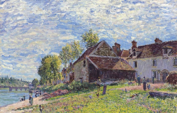 Picture the sky, clouds, landscape, bridge, river, people, home, picture, Alfred Sisley