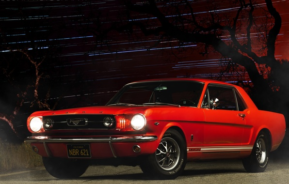 Picture car, night, red, ford mustang, muscle car
